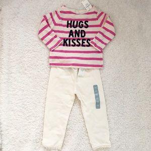 NWT - (pink/cream) stripe Top & matching legging